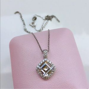 Jewelry - 14k white gold 2 ct asscher halo pendant necklace